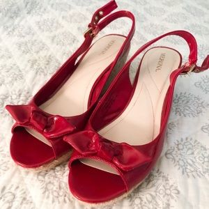 Merona patent leather red wedge strap heels